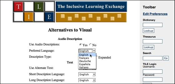 The TILE user interface, which allows users to indicate that they wish to use audio description or text as alternatives to visual resources. Audio description can be selected in five languages. Text can be short description or long description.