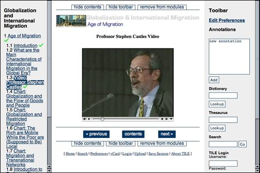 A video window is embedded in a course page. It does not show captions for the professor who is speaking.